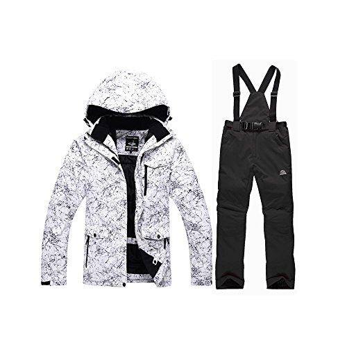 GS SNOWING Men's and Women's Ski Jacket High Windproof Waterproof Technology Snow Jacket and Pants Black 3X-Large