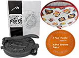 Heavy Duty Pre-seasoned Cast Iron 8 Inches Maquina Tortilla Press Roti Pita Pataconera with Tortilla Warmer. Free Replacement, If Damaged in 30 Days