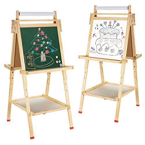 USELUCK Easel for Kids with Paper Roll Double Sided Drawing Easel Dry Erase Board amp Chalkboard Standing Adjustable Height Drawing Easel Board Bonus Magnetics Stickers and Other Accessories for Kids
