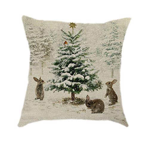 Webla Cushion Cover Printed Linen Christmas Decorations Pillowcases Retro Christmas Cushions for Sofas Decorative Cotton Linen Cushion Cover Sofa Case Pillowcase Cushion,45X45cm (P)