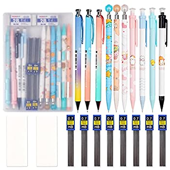 21pcs Mechanical Pencil Set 10 Pieces 0.7 mm Mechanical Pencils with 8 Cases Lead Refills and 2 pieces Erasers with Clear Plastic Box for Writing Drawing Signature
