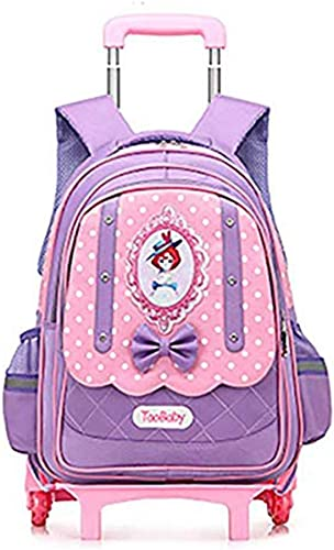 AZCX Kinder Rollen Rucks e Schoolboy Trolley abnehmbare Schulranzen mädchen Rucks e 3-6 Klasse 6 R r Kinder Schultaschen,lila