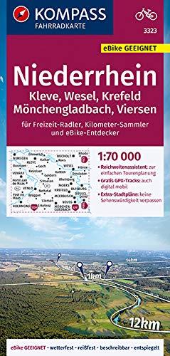 KOMPASS Fahrradkarte Niederrhein, Kleve, Wesel, Krefeld, Mönchengladbach, Viersen 1:70.000, FK 3323: reiß- und wetterfest mit Extra Stadtplänen (KOMPASS-Fahrradkarten Deutschland, Band 3323)