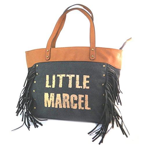 Little Marcel [P3144] - Sac créateur 'Little Marcel' Noir Camel doré (Franges) - 43x31x14 cm