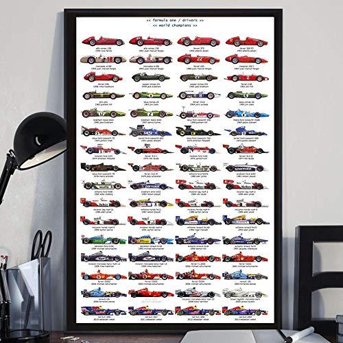 zuomo Pilotos F1 Coche de Carreras Ayrton Senna póster Arte Lienzo Pintura Cuadros de Pared Sala de Estar decoración del hogar 50x70cm sin Marco