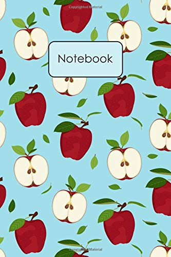 Notebook: Apple Whole And Half Pattern Blank Lined Journal...