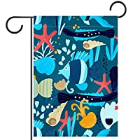 ガーデンサイン庭の装飾屋外バナー垂直旗魚水中 オールシーズンダブルレイヤー
