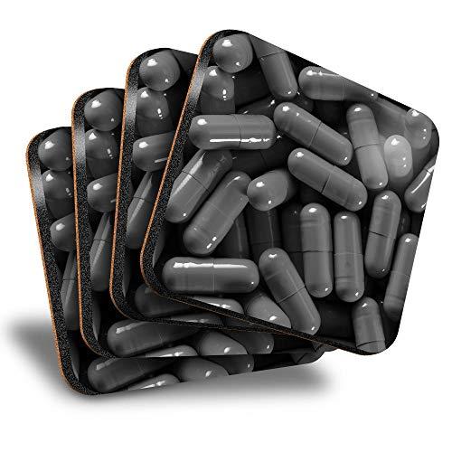 Destination Vinyl ltd Great Posavasos (juego de 4) cuadrados – BW – Pills Doctor Nurse Pharmacy Drink posavasos/protección de mesa para cualquier tipo de mesa #42092
