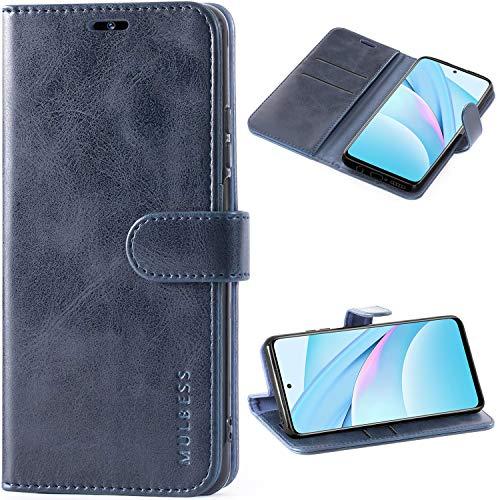 Mulbess Handyhülle für Xiaomi Mi 10T Lite Hülle Leder, Xiaomi Mi 10T Lite Handy Hüllen, Vintage Flip Handytasche Schutzhülle für Xiaomi Mi 10T Lite 5G Hülle, Navy Blau