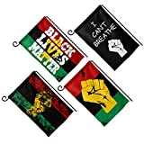 PBZNAN 4Pcs Black Lives Matter Pan-African Flag Garden Flag House Decorative Double Sided Print Outdoor D¨¦cor 12x18 Inch