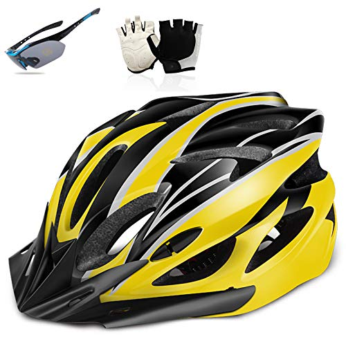 HVW Casco de Bicicleta de Ciclismo Adulto, Casco de Bicicleta para Hombres Mujeres con Guantes y Gafas Protección de Seguridad Ligero Ligero Ajustable Carretera Casco de Ciclo,Amarillo