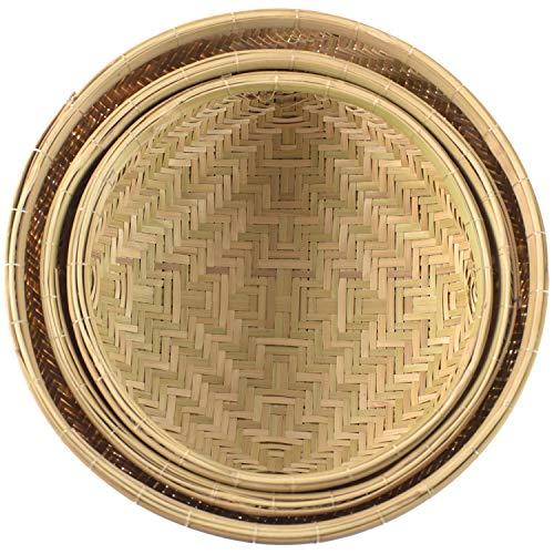 Handmade Wicker Woven Basket | Bread Baskets for Serving, Fruit Baskets | Kitchen Organizer, Handmade Bamboo Basket | Multi-purpose Storage Round Bamboo Wicker Basket Natural | 3 Pcs-Black
