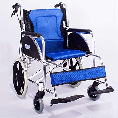 Yaeele a prueba de golpes Silla de ruedas plegable ligera de conducción Suministros medicos for adultos, interior al aire libre silla de ruedas de aleación de aluminio con frontal y posterior Hand Bra