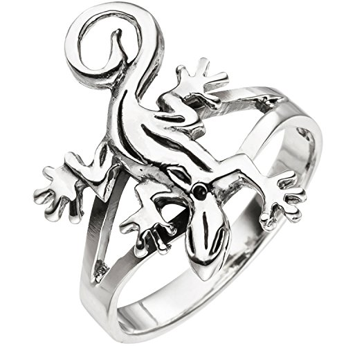 JOBO Damen Ring Gecko Echse Eidechse 925 Sterling Silber Silberring Größe 60
