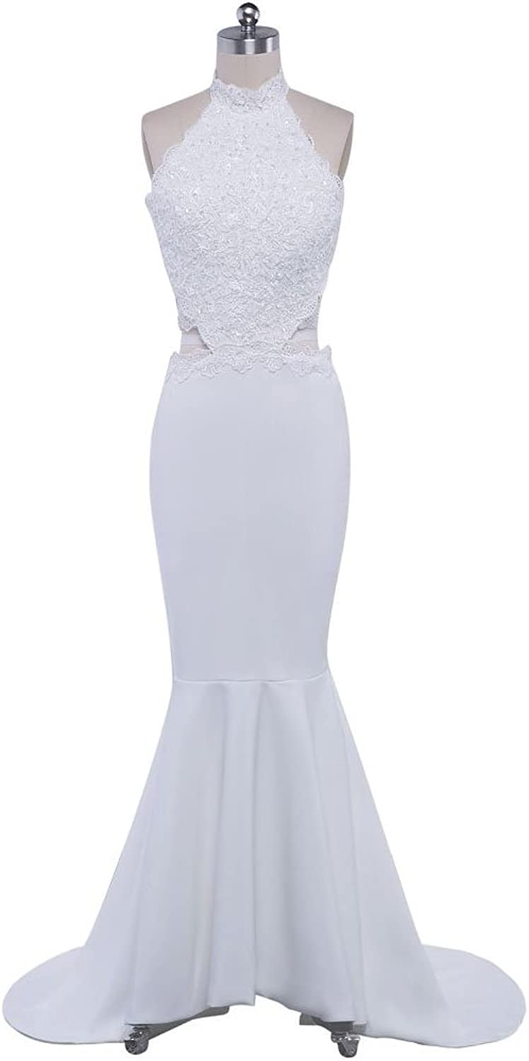 BeautyEmily Evening Dresses for Women Long White Hanging Neck Backless Satin Lace Mermaid Dresses