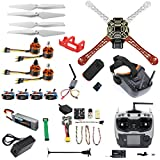 QWinOut DIY RC Drone Kit F450-V2 FPV Quadcopter with AT9S Remote Controller Mini PIX Mini GPS Q6 4K Wide Angle Action Camera FPV Watch / FPV Goggles Full Set Drone Kit (FPV Goggles Version)