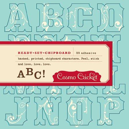 Cosmo Cricket Fertig Set Spanplatte mit Selbstklebender Rückseite, Bedruckte Buchstaben, 33 Stück, Hey Sugar/Victoria