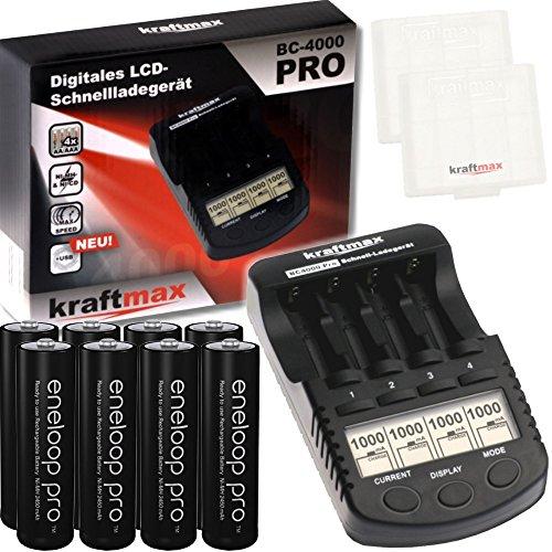 Kraftmax Kombipack - Kraftmax BC-4000 Pro Ladegerät und 8X Pansonic Eneloop PRO XX AA/Mignon Akkus - Neueste Generation - 2550 mAh Hochleistungs Akku Batterien in Kraftmax Akkuboxen V5