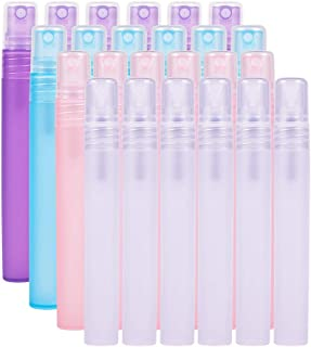 BENECREAT 24 Pack 10ml(0.34oz) Refillable & Reusable Frosted Mist Spray Bottles Atomizer Pumps for Perfume,Lotion, Travel-Empty Plastic Bottles - 4 Colors