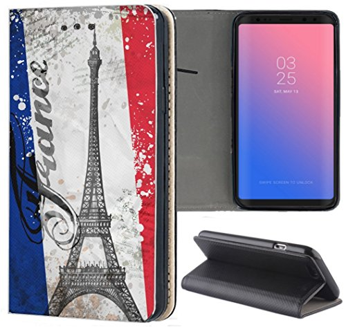 KX-Mobile - Funda de piel sintética para teléfono móvil, diseño de la torre Eiffel 1178 Paris Francia, azul, blanco, rojo, funda inteligente