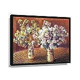 Póster de flores - Monet - Dos jarrones con crisantemos vintage de arte cuadros rectangulares lienzo pintura al óleo sala de estar hogar moderno de 60 x 40 cm, enmarcado