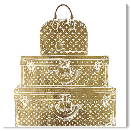 The Oliver Gal Artist Co. Fashion and Glam Wall Art Canvas Prints 'Royal Bag and Luggage Diecut' Home Décor, 43' x 43', Gold, White