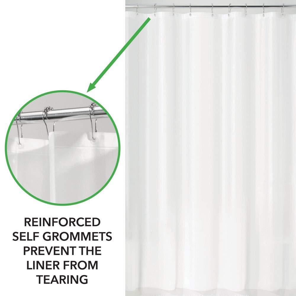 mDesign Juego de 2 Cortinas ducha de PEVA – Cortina de baño libre de PVC con 12 agujeros reforzados – Cortina bañera – blanco: Amazon.es: Hogar