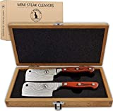 Steak Knife Set in Gift Box. 6 Full Tang High Carbon Stainless Steel Micro Serrated Knives. Classic Dark Brown Ergonomic Pakkawood Handles. Luxury Beech Wood Case. Premium Deluxe Birthday Gift Idea