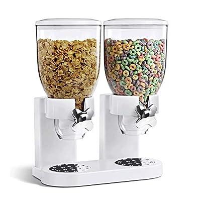 Double distributeur de céréales?Facile à utiliser avec boîtes en plastique transparent nourriture sèche?Garde frais, blanc ou noir