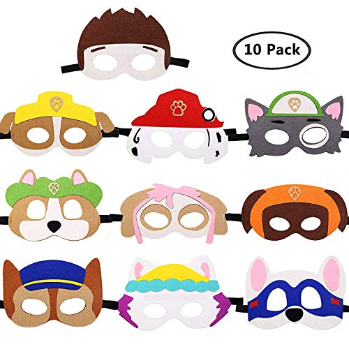 WENTS Paw Dog Masken Patrol Spielzeug Puppy Party Masken Geburtstag Cosplay Charakter Party Favors Supplies für Kinder 10PCS