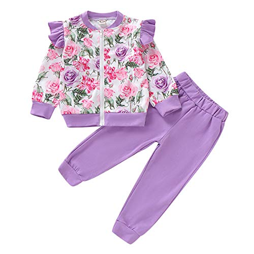 puseky niño niños niñas Floral de Manga Larga Capa de la Chaqueta de la Cremallera de la Colmena + pantalón Conjunto de Trajes de chándal