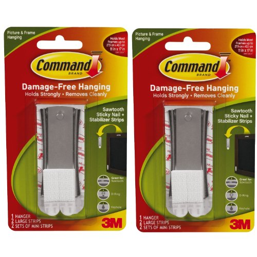 Command Sticky Nail Sawtooth Hanger, 5-Pound, 2 Pack