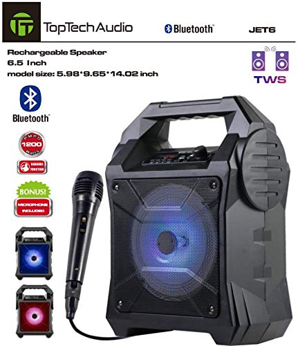 Lowest Prices! Top Tech Audio Portable Speaker, Battery Powered with Bluetooth, Microphone & Cable, ...