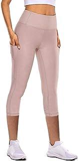Andouy Damen Leggings High Waist Sporthose Yogahosen Yoga Capris Dreiviertel-Hosen mit Taschen