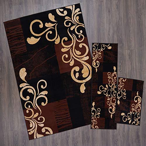 Home Dynamix Ariana Galil Area Rug 3 Piece Set (4'11' x6'11,1'8' x4'11,1'8' x2'8), Geometric Ebony