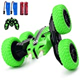 Remote Control Car Double-sided rotating car 360° flip , 2.4Ghz Anti-Interference Rc Cars toy ,Remote Control Car for boys girl8-12(Green)