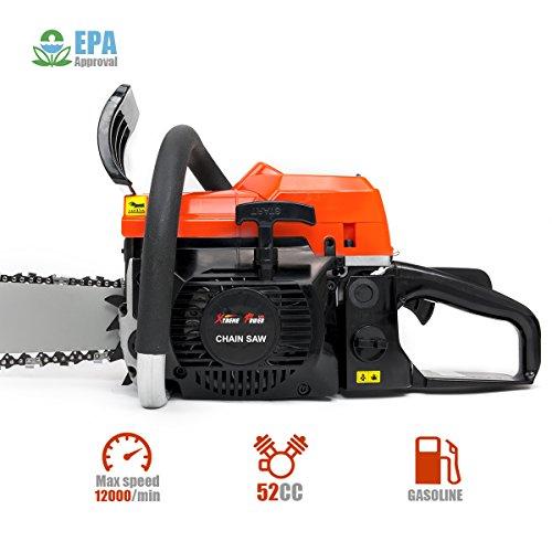 XtremepowerUS 52cc Gasoline Chainsaw 2.7HP Engine 2-Stroke Wood Cutting Tree Log Cutter Trimmer Crankcase EPA