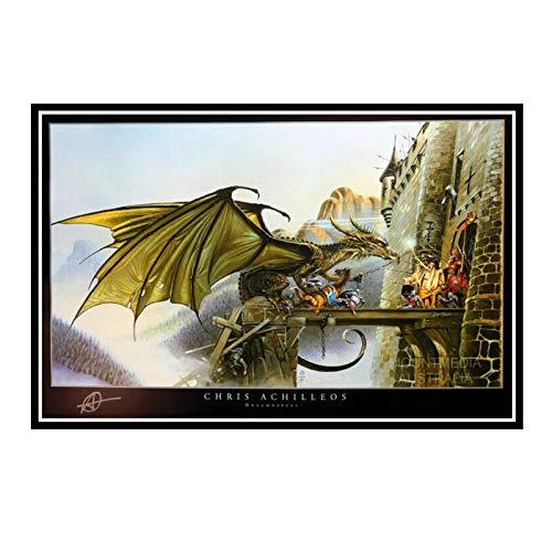 IUYTRF Dragon Spell Fantasy Chris Achilles Seidenplakat Dekorative Wandfarbe -50X75 cm No Frame 1 Pcs