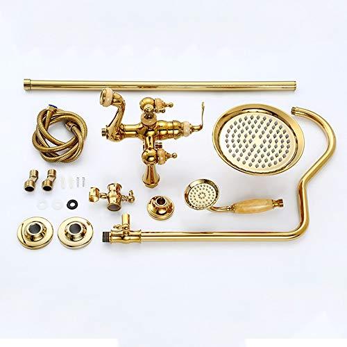 Cabezales de ducha Sistema de ducha de agua caliente y fría con sobrecarga termostática sobrealimentada sobrealimentada Juego de ducha de jade de oro europeo 3 tipos de cabinas Grifo de ducha de cobre