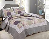 J&V TEXTILES Quilt Set- Patchwork Print Pattern Bedspread - Soft Microfiber Lightweight Coverlet for All Season - 3 Pieces (Includes 1 Quilt, 2 Shams) (Full/Queen 86x86 inches)
