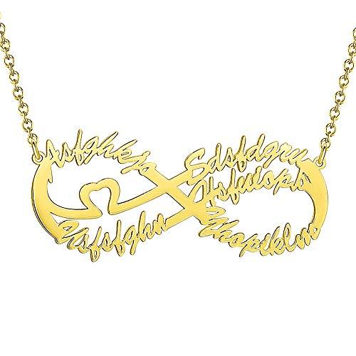 Soufeel Damen Namenskette Namen Halskette Unendliche Liebe Kette mit 5 Namen und Herz 925 Silber Geschenk für Tochter Mutter Freudin