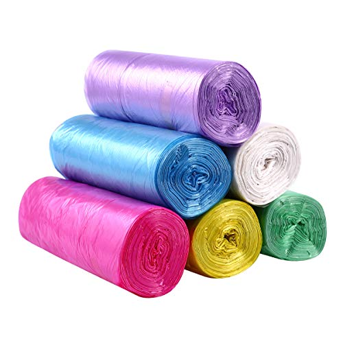 OUNONA 6 Rolls Small Trash Bags with Tie Handles Colorful Plastic Bags for Bathroom Kitchen Living Room Office