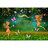 Leowefowa 2.2x1.5m Vinyl Happy Birthday Backdrop Fairy Birthday Backdrop Magic Forest Night Glow Baby Kids Girl Butterfly Photo Background for Party Photo Shoots Studio Props Photography Backdrops