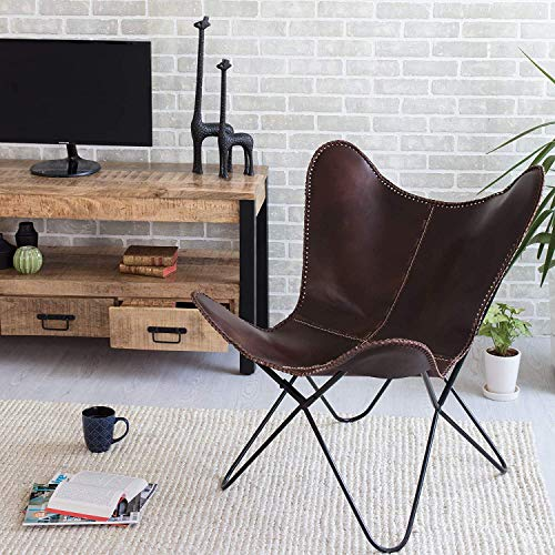 Leather Butterfly Chair - Genuine Leather I Handmade, Iron Frame I Lounge Chair I Comfortable Recliner I Hand-Stitching Industrial Effect I 32.29 x 28.75 x 27.15, Brown Presented by Leder_artesanía