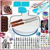 150 Pcs Cake Decorating Supplies Kit for Beginners-1 Turntable stand-48 Numbered icing tips with pattern chart &...