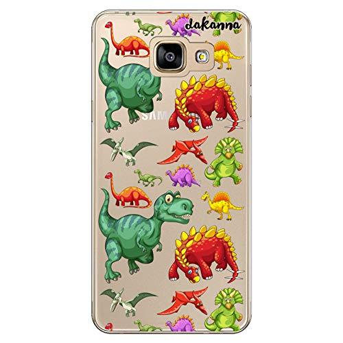 dakanna Funda Compatible con [ Samsung A5 2016 ] de Silicona Flexible, Dibujo Diseño [ Patrón de Dinosaurio ], Color [Fondo Transparente] Carcasa Case Cover de Gel TPU para Smartphone