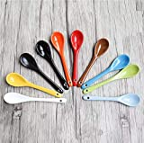 Astra Gourmet 5' Ceramic Soup Spoons Porcelain Spoons for Coffee, Tea, Yogurt, Ice-cream, Appetizers and Desserts, Set of 8 (Assorted Colors)