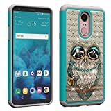 NVWA for LG Stylo 4 Case, LG Q Stylus Case [Heavy Duty] Tough Dual Layer 2 in 1 Rugged Rubber Hybrid Hard Plastic Soft TPU Impact Back Protective Cover Coloured Drawing with Bling Diamond - Gray Owl