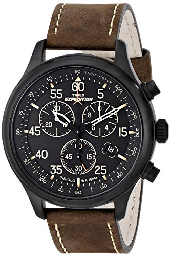 Timex Men's T49905 Expedition Field Chronograph Black/Brown Leather Strap Watch