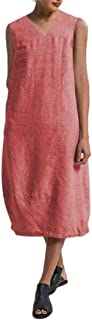 Howely Women's V-Neck Relaxed Mid Long Summer Linen Solid Maxi Long Dress